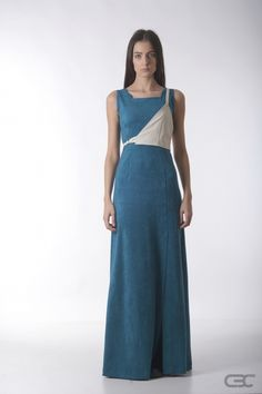 Crepe Black Collar long teal dress from suede-like fabric wish cream accessory.Check out the online shop for details. Fall Winter 2014, Teal, Check, Fabric, Clothes, Shopping, Collection, Dresses, Tejido