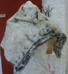 Grey/ charcoal Nuno felted shawl by Beautifulfelts on Etsy, $90.00