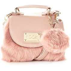 Light pink mini faux fur grab bag (£27) ❤ liked on Polyvore featuring bags, handbags, shoulder bags, purses, borse, mini shoulder bag, pink handbags, change purse, coin pouch and pink shoulder handbags