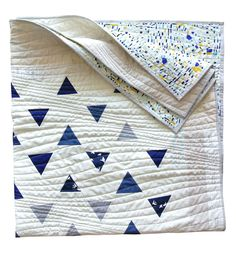 Minimal Triangles Quilt Pattern by Suzy Quilts Blue Quilts, Scrappy Quilts, Navy Quilt, White Quilts, Owl Quilts, Triangle Quilt Pattern, Triangle Quilts, Triangles, Geometric Quilt