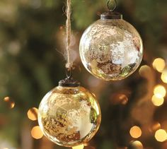 Mercury Glass Ball Ornaments - Silver & Gold, Set of 6 | Pottery Barn