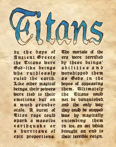 "Book of Shadows:  ""Titans I,"" by Charmed-BOS, at deviantART."