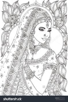beautiful indian woman zendala coloring page : Shutterstock 477153724                                                                                                                                                     More