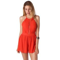 Red cross over back romper with lace detail