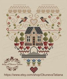 Cross Stitch Heart, Cross Stitch Samplers, Counted Cross Stitch Patterns, Cross Stitch Designs, Cross Stitch Embroidery, Loom Weaving, Christmas Cross, Digital Pattern, Crochet Crafts