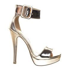 Zelena Rose Gold by Delicious, High Heel Stiletto Platform Dress Sandal w Thick Over Sized Ankle Strap