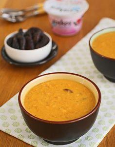 Curried Sweet Potato & Fig Yogurt Soup #healthy
