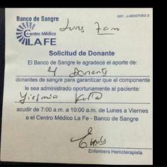 Se solicitan donantes de sangre de cualquier tipo. Para la Sra Yesmin Kattar Requisitos: edad entre 18 y 60 años. Buena salud. Cédula laminada Los donantes deben acudir de lunes a viernes de 7:00 a 10:00 am. Centro medico La Fe. Gracias por tu colaboración. #Regrann