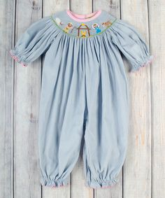 Loving this Light Blue Nativity Smocked Bubble Playsuit - Infant & Toddler on #zulily! #zulilyfinds
