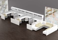 Free standing, open-plan workstations that do not use panels but rather storage and desk top screens to divide the desks and seating areas. New trends in office design are moving away from the typical cubicle. www.ofw.com