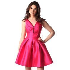 Fuchsia dress with full skirt with keyhole neck