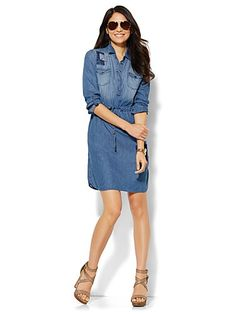 Shop Patchwork Shirtdress . Find your perfect size online at the best price at New York & Company.