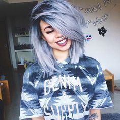Silver/smokey blue hair                                                                                                                                                                                 More