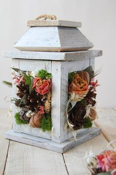 Rustic table decoration, lantern swag, floral swag, rustic easter decor #spring arrangement #farmhouse lantern #easter centerpiece Easter Centerpiece, Candle Centerpieces, Easter Decor, Dried Flower Bouquet, Dried Flowers, Wreaths For Front Door, Door Wreaths, Rustic Table, Rustic Decor