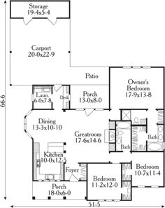 Country Style House Plan - 3 Beds 2 Baths 1543 Sq/Ft Plan #406-266 Floor Plan - Main Floor Plan - Houseplans.com