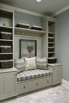 love these built in shelves and seating, hmmm window seat. Interior Paint Colors, Interior Design, Room Interior, Interior Ideas, Built In Shelves, Storage Shelves, Entryway Storage, Built Ins, Shelving