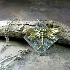 Woodland Dragonfly - sterling silver and brass pendant     ...from LavenderCottage on Etsy