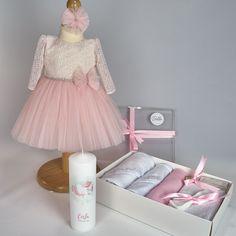 Trusou Botez Complet Baby Unicorn compus din rochita Eveline cu maneca scurta, trusou Delicate Pink 7 piese, lumanare de botez Baby Unicorn Tulle, Costume, Skirts, Fashion, Moda, Fancy Dress, Costumes, Skirt Outfits, Skirt