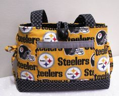 Steelers Football HandBag - Customized with Your Choice of NFL or College Team Fabric on Etsy, $38.00