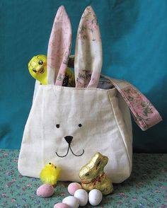 Bunny Rabbit Bag, printed cotton lining and ears, personalized easter basket, freemotion sewn features. Easter Gift Bag