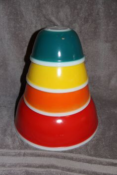 Vintage Complete JAJ Rainbow PYREX Red Orange Yellow Teal Set from UK - RARE #Pyrex #JAJ