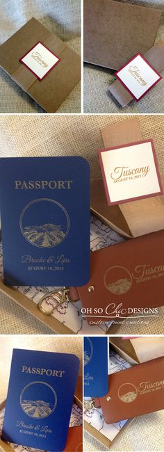 Tuscany, Italy save the dates. Luggage Tag and passport in a box by Oh So Chic Designs.