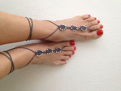 Gray Barefoot Sandals with silvery bead, Nude shoes, Foot jewelry, Wedding, Victorian Lace, Sexy, Lolita, Yoga, Anklet, gypsy sandals