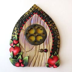Folk Heart Window Valentine Fairy Door Pixie Portal by Claybykim