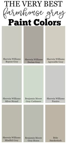 The very best farmhouse gray paint colors for your home by mildred. The very best farmhouse gray paint colors for your home by mildred. Living Room Paint and Decor Best Gray Paint, Best Neutral Paint Colors, Paint Colors For Home, Best Bedroom Paint Colors, Paint Colours, Paint Colors For Kitchens, Colors For Walls, Paint Colors Laundry Room, Green Gray Paint