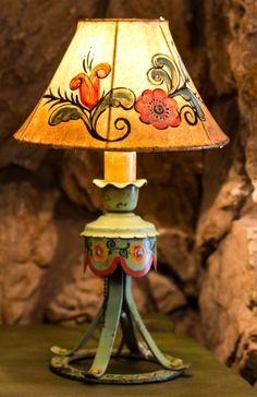 Roadside-America.com | Monterey Green Lamp with Hide Painted Shade