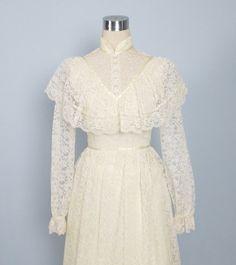 Vintage 1970's Creme Victorian Lace Wedding Dress /// Long Gunne Sax Style. $68.00, via Etsy.