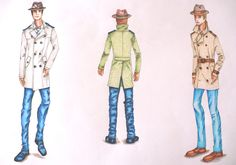 Ejercicio de dibujo del figurín masculino con sombrero borsalino, trench coat y jeans. Técnicas mixtas: acuarela, marcador, creyones. Diseños de revistas by Elvi Ramos de Ruiz