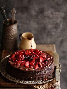 Baking | Dark Chocolate Cheesecake with Wine Macerated Strawberries