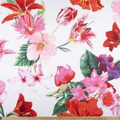 Cotton Sateen Fabric - Fabric Collection At Spotlight Printed Cotton, Spotlight, Color Blocking, Vibrant, Lily, Rainbow, Colours, Floral, Fabric