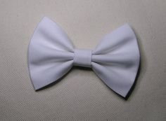 White hair bow clip, Hair clips for kids and teens, hair clips for women, small hair bows. $3.50, via Etsy.