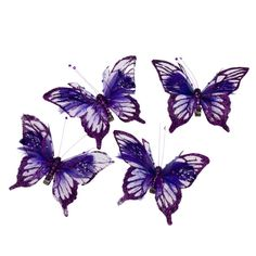 Purple Organza Butterfly with Feather Detail - Pack of 4