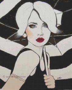 Lady in Black and White Cross stitch