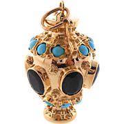 Striking Vintage Charm Garnet & Turquoise Bauble 18K Gold