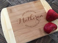 Circle Monogram Cutting Board Bridal Shower Gift by withluvdesign