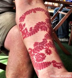 Hungarian folk art pattern tattoo. Arm belongs to a man named Zoli who talks about his culture in the interview (see link). Artist unknown. http://untappedcities.com/wp-content/uploads/2011/07/Zolis-Tattoo.jpg