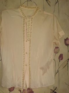 Vintage 1950s PINK  Sheer Nylon Blouse With by Linsvintageboutique, $25.50