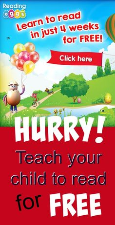 Get your child reading with a FREE 4 week trial of Reading Eggs -  the multi award-winning online reading program for 3-13 year olds. ad