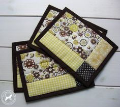 Quilted Coffee Mug Rug/Set of 4 Patchwork by TextileHomeware