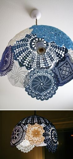 "doilies = lampshade hhmmmm how many of these things do i have/need anyways... and will it ""fit"" into the home office room if it has vintage camera's as the main eye candy? something to think about"