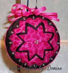 Handcrafted by Denise ~ ~ Quilt looking fabric ornaments made by Handcrafted by Denise.