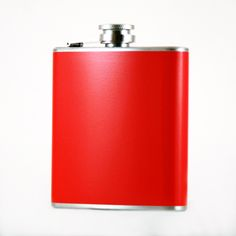 @ShopAndThinkBig.com - WE CAN CREATE THIS FLASK IN ANY COLOR YOU WANT AT NO ADDITIONAL CHARGE! This high quality 6oz red hip flask is made from food grade stainless steel. The red coating is a durable vinyl wrap that will not peel or fade easily. The deep red color is created using a high-tech $25,000 printer that allows full continuous color all the way around the flask with even ink distribution for a clear and con……