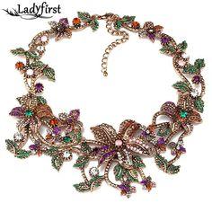 2015 Nueva Llegada de Moda de Lujo Marca za Collares de flores Colgantes y Collares de Cristal de La Vendimia Collar Llamativo Joyería B431