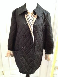 BURBERRY LONDON double breasted quilted black jacket Sz XL #BurberryLondon #QuiltedJaclet
