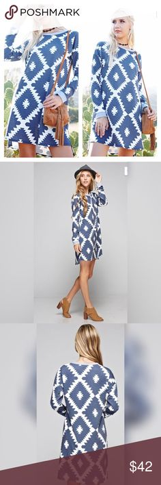 🆕💙 Navy Tribal Print Dress Long Sleeve Navy Tribal Print Dress! 💙                                                                               ✳️65% Polyester 35% Rayon Dresses
