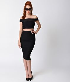 Black Off the Shoulder Two Piece Wiggle Dress